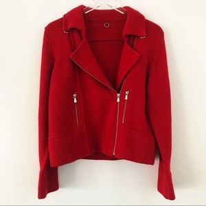 Anthropologie One Girl Who red zip sweater